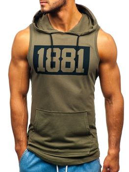 Men's Printed Hooded Tank Top Khaki Bolf 1281