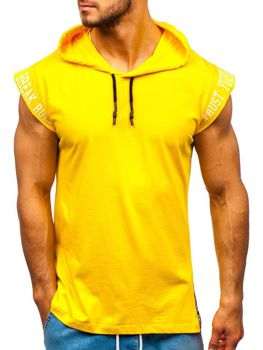 Men's Printed Hooded Tank Top Yellow Bolf 19100