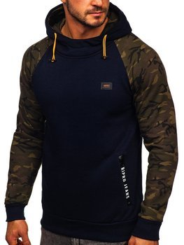 Men's Printed Hoodie Navy Blue Bolf 179018