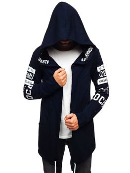 Men's Printed Longline Hoodie Navy Blue Bolf 11110