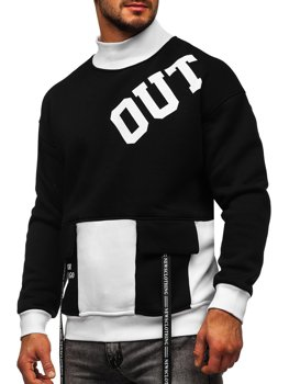 Men's Printed Sweatshirt Black-White Bolf 0001