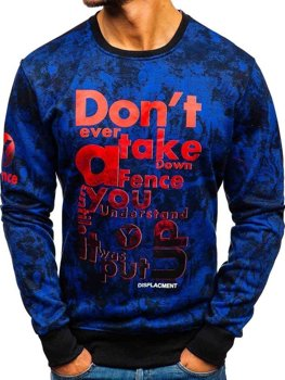 Men's Printed Sweatshirt Blue Bolf DD677-A