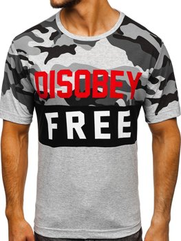 Men's Printed T-shirt Camo-Grey Bolf 6308