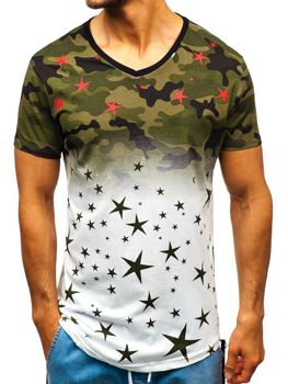 Men's Printed T-shirt Camo White-Green Bolf 324