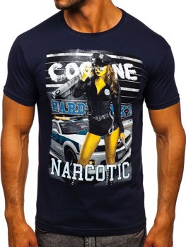 Men's Printed T-shirt Navy Blue Bolf 004