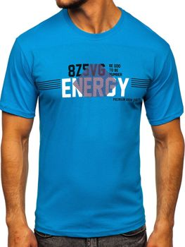 Men's Printed T-shirt Turquoise Bolf 14333