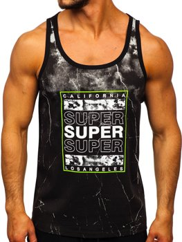 Men's Printed Tank Top Black-Green Bolf SS11035