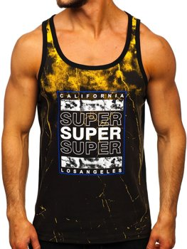 Men's Printed Tank Top Black-Yellow Bolf SS11035