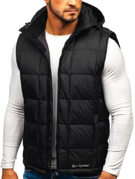 Men's Quilted Hooded Gilet Black Bolf A5502