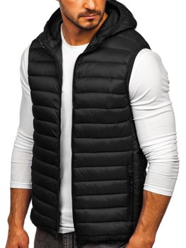 Men's Quilted Hooded Gilet Black Bolf LY36