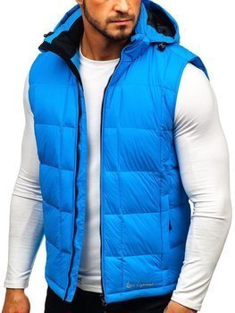 Men's Quilted Hooded Gilet Blue Bolf A5502