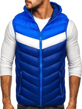 Men's Quilted Hooded Gilet Blue Bolf HDL88004