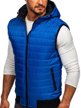 Men's Quilted Hooded Gilet Blue Bolf MY88