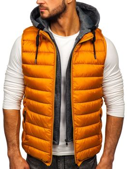 Men's Quilted Hooded Gilet Camel Bolf B2679