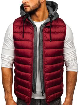 Men's Quilted Hooded Gilet Claret Bolf B2679