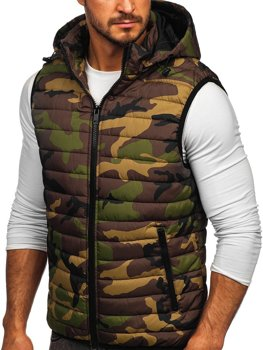 Men's Quilted Hooded Gilet Khaki Bolf 6701