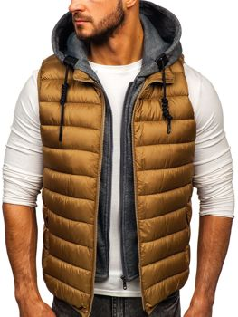 Men's Quilted Hooded Gilet Khaki Bolf B2679