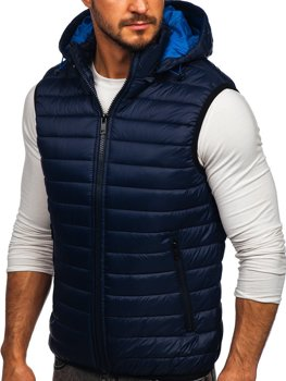 Men's Quilted Hooded Gilet Navy Blue Bolf 6701