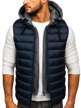 Men's Quilted Hooded Gilet Navy Blue Bolf B2679