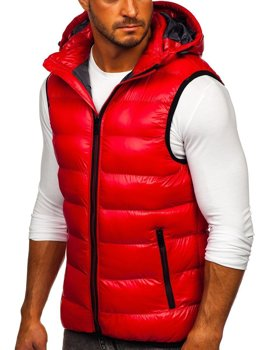 Men's Quilted Hooded Gilet Red Bolf 6506