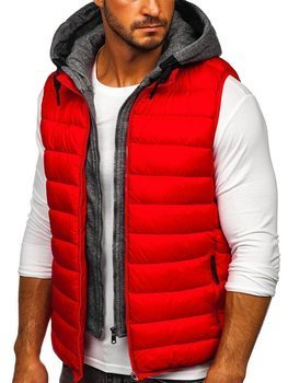 Men's Quilted Hooded Gilet Red Bolf B2901