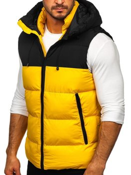 Men's Quilted Hooded Gilet Yellow Bolf 1189