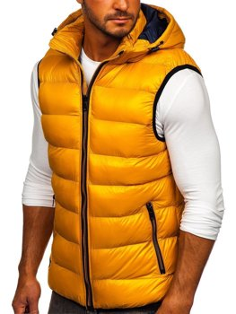 Men's Quilted Hooded Gilet Yellow Bolf 6506