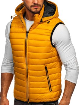 Men's Quilted Hooded Gilet Yellow Bolf 6701