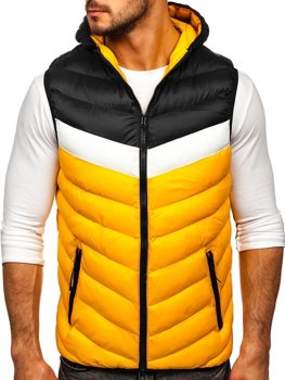 Men's Quilted Hooded Gilet Yellow Bolf HDL88004