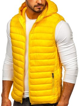 Men's Quilted Hooded Gilet Yellow Bolf LY36
