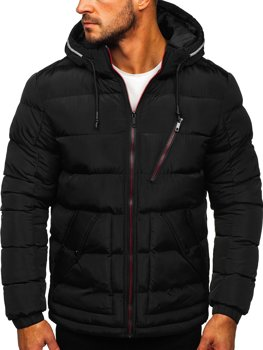 Men's Quilted Hooded Jacket Black Bolf 1181