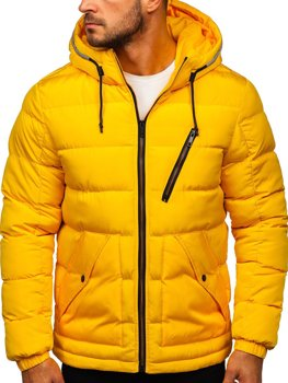 Men's Quilted Hooded Jacket Yellow Bolf 1181
