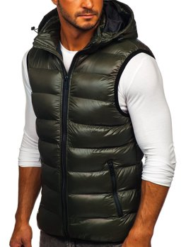 Men's Quilted Hooded Vest Green Bolf 6506