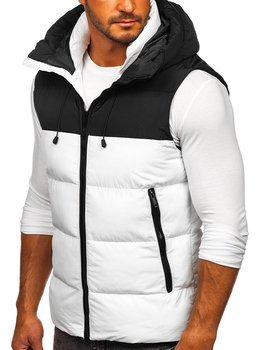 Men's Quilted Hooded Vest White Bolf 1189