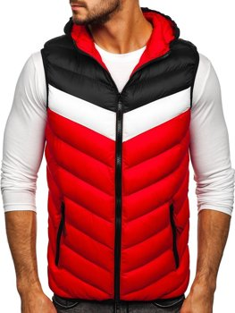 Men's Quilted Hoodie Gilet Red Bolf HDL88004
