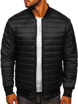 Men's Quilted Lightweight Bomber Jacket Black Bolf MY-02