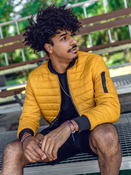 Men's Quilted Lightweight Bomber Jacket Camel Bolf MY-02