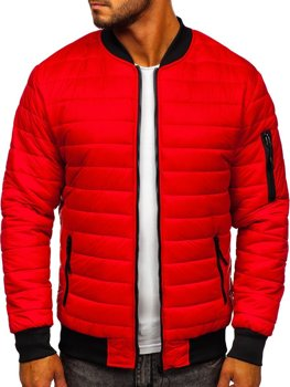 Men's Quilted Lightweight Bomber Jacket Red Bolf MY-02
