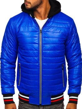 Men's Quilted Lightweight Hooded Bomber Jacket Blue Bolf 6192