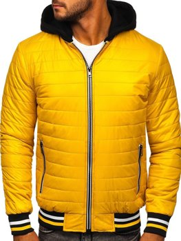 Men's Quilted Lightweight Hooded Bomber Jacket Yellow Bolf 6192