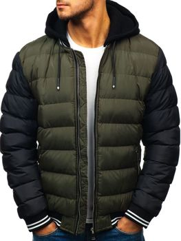 Men's Quilted Winter Bomber Jacket Green Bolf 5366