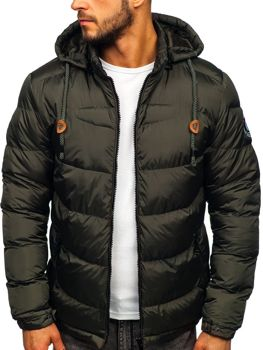 Men's Quilted Winter Down Jacket Khaki Bolf 50A156