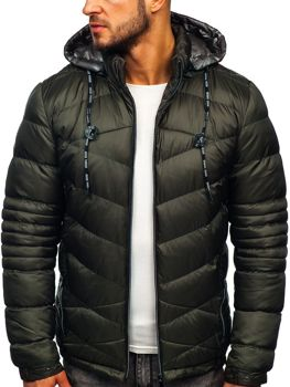 Men's Quilted Winter Down Jacket Khaki Bolf 50A223