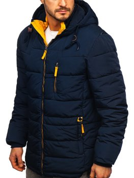 Men's Quilted Winter Hoodie Jacket Navy Blue-Yellow Bolf M72073
