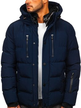 Men's Quilted Winter Jacket Navy Blue Bolf J1903