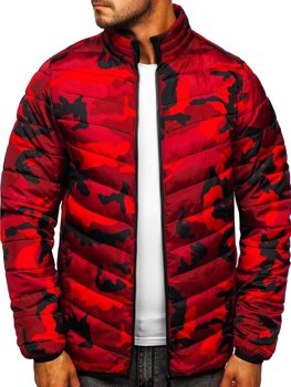 Men's Quilted Winter Sport Jacket Camo-Red Bolf SM32