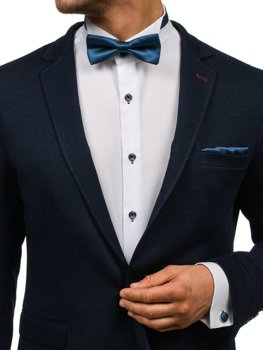 Men's Set Bow Tie, Cufflinks, Pocket Square Navy Blue Bolf MSP01