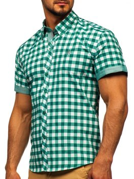 Men's Short Sleeve Checkered Shirt Green Bolf 6522