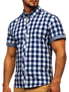Men's Short Sleeve Checkered Shirt Navy Blue Bolf 6522