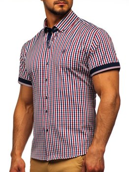 Men's Short Sleeve Checkered Shirt Red Bolf 4510